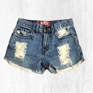 Levi's 527 Distressed Cut Off Shorts 28